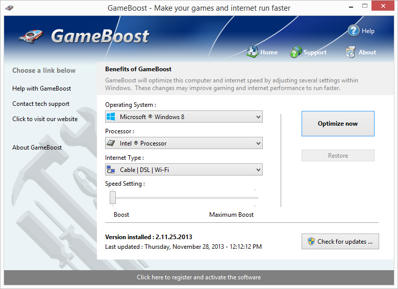 Click to view GameBoost 1.5.30.2011f screenshot