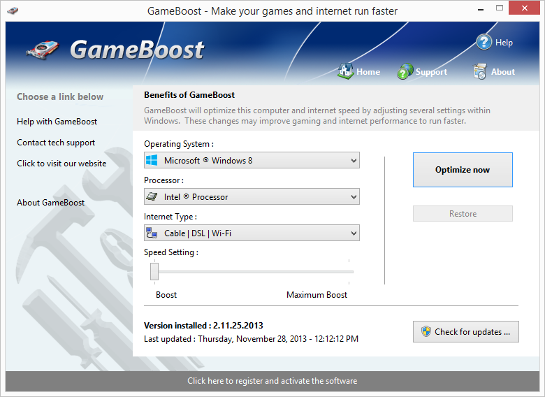 Click to view GameBoost 1.2.25.2013 screenshot