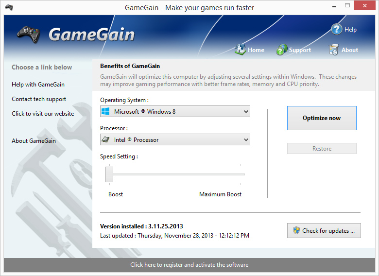 Screenshot of GameGain 2.5.2.2011