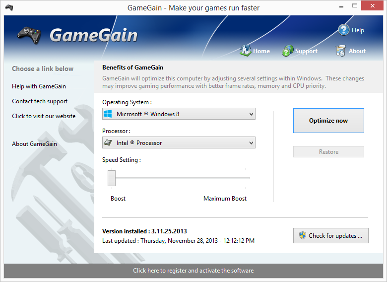 GameGain full screenshot