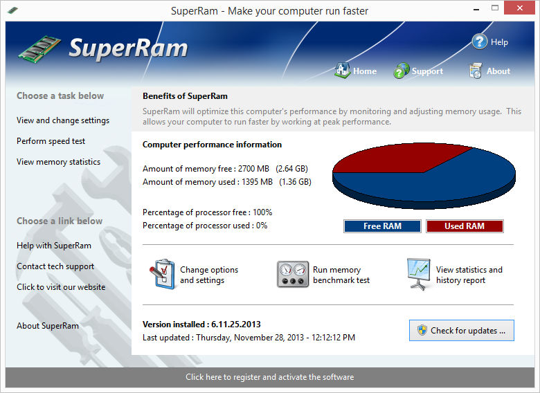 SuperRam makes your computer run faster by taking control and managing the memory on your computer efficiently. SuperRam gives you full control over how memory works on your computer and allows you to fine tune how your computer operates.